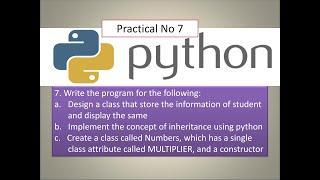 Class   Inheritance   Constructor   Python Practical   Syit   Fycs   Python Tutorial for beginners